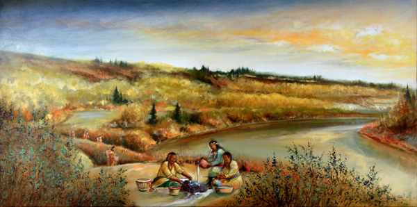 Metis Berry Pickers, 1830s, original oil painting by Richard Dixon
